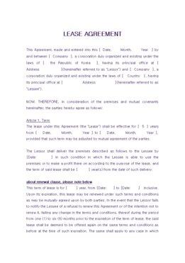 해외 임대차계약서(영문)